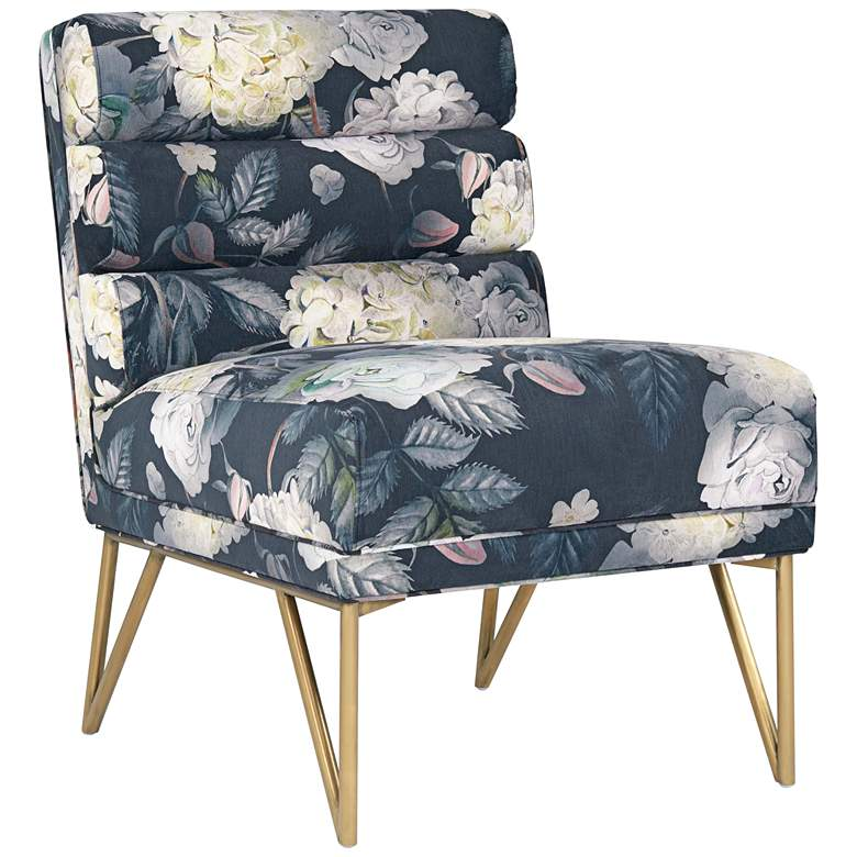 Kelly Floral Channel Tufted Velvet Accent Chair