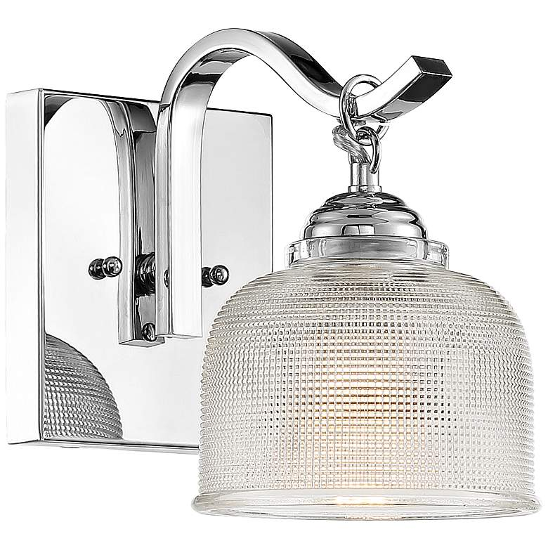 "Possini Euro Mani 8""H Chrome and Textured Glass Wall Sconce"
