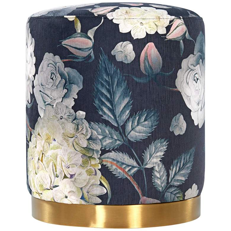 Opal Floral Velvet Round Ottoman with Gold Base