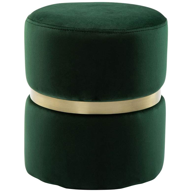 Yamma Forest Green Velvet Round Ottoman with Gold Band