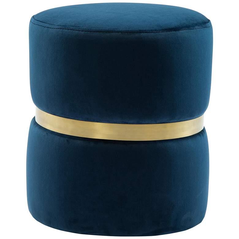 Yamma Navy Velvet Round Ottoman with Gold Band