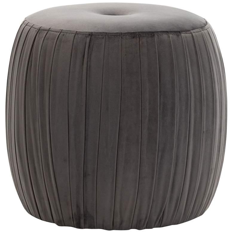 Sommer Gray Button-Tufted Pleated Velvet Drum Ottoman