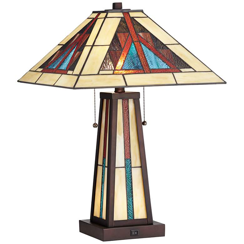 Robert Louis Tiffany Ansel Bronze LED Night Light Table Lamp