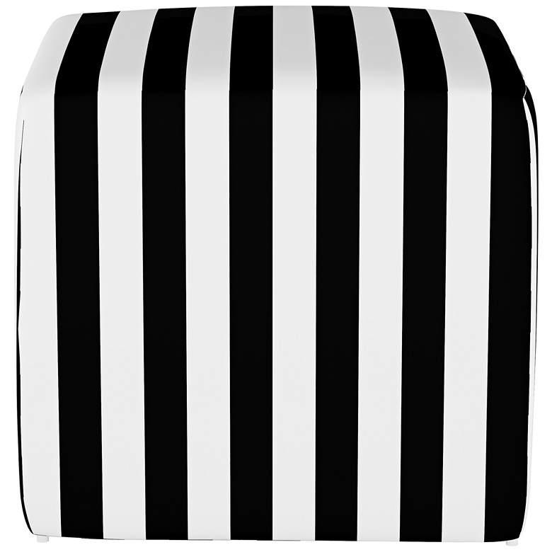 Franzen Canopy Stripe Black and White Square Cube Ottoman