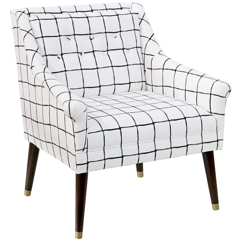Everly Painted Check Ink Accent Chair with Ferrules