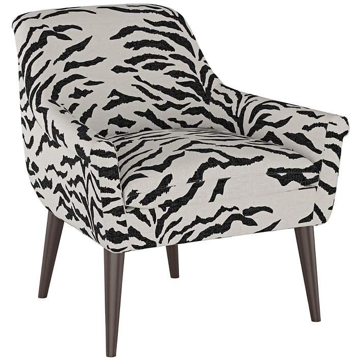 Zoey Linen Zebra Cream And Black Armchair 74m93 Lamps Plus