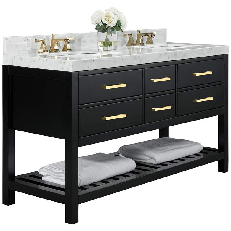 "Elizabeth 60""W Onyx Black White Marble Double Sink Vanity"