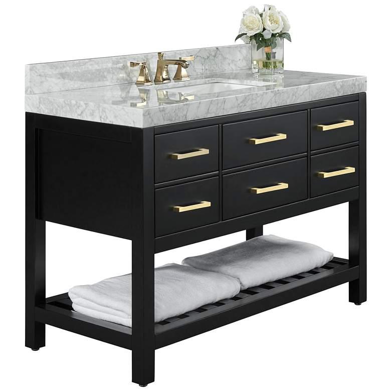 "Elizabeth 48""W Onyx Black White Marble Single Sink Vanity"