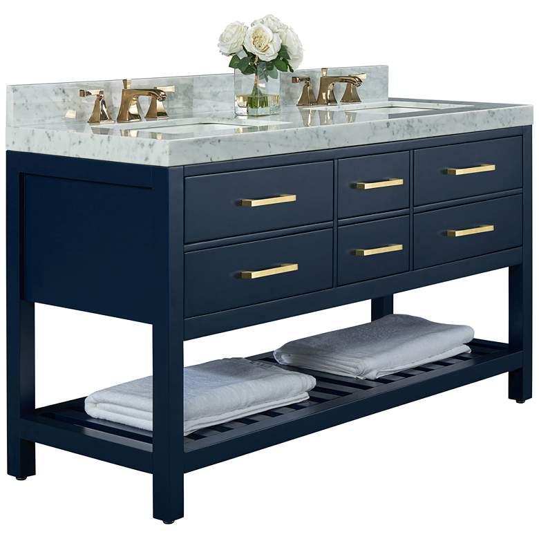 "Elizabeth 60""W Heritage Blue White Marble Double Sink Vanity"