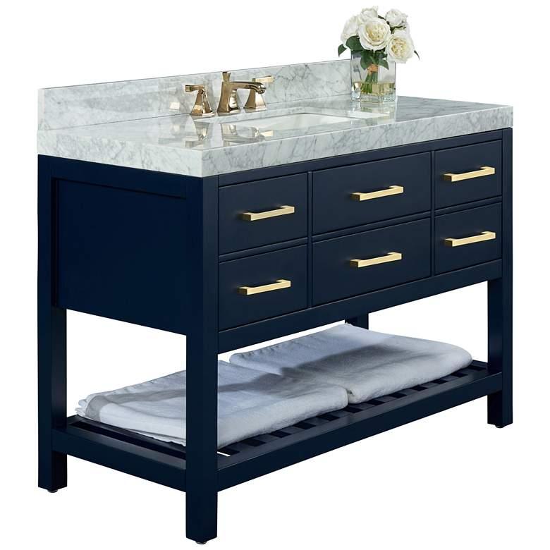 """Elizabeth 48""""W Heritage Blue White Marble Single Sink Vanity"""