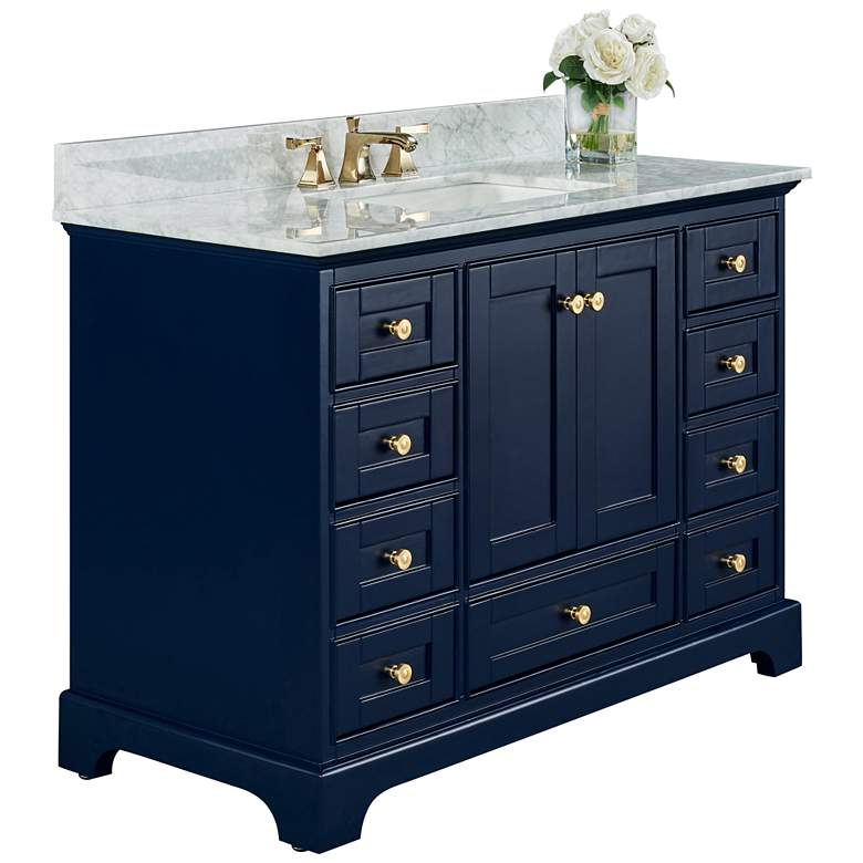 "Audrey 48""W Heritage Blue White Marble Single Sink"