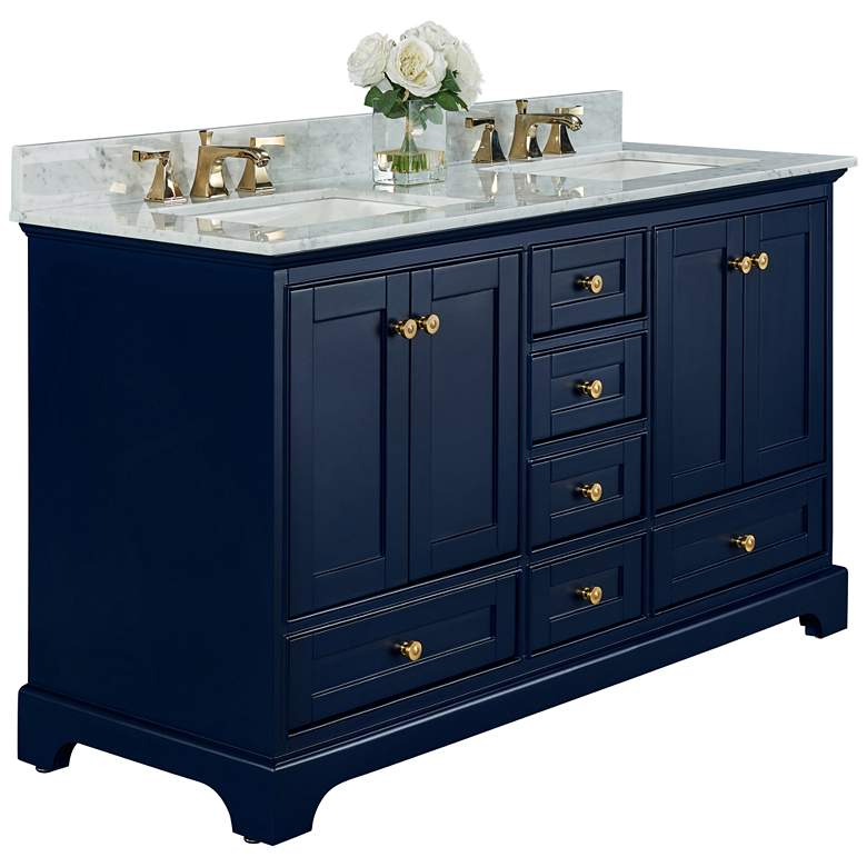 """Audrey 60""""W Heritage Blue White Marble Double Sink Vanity"""