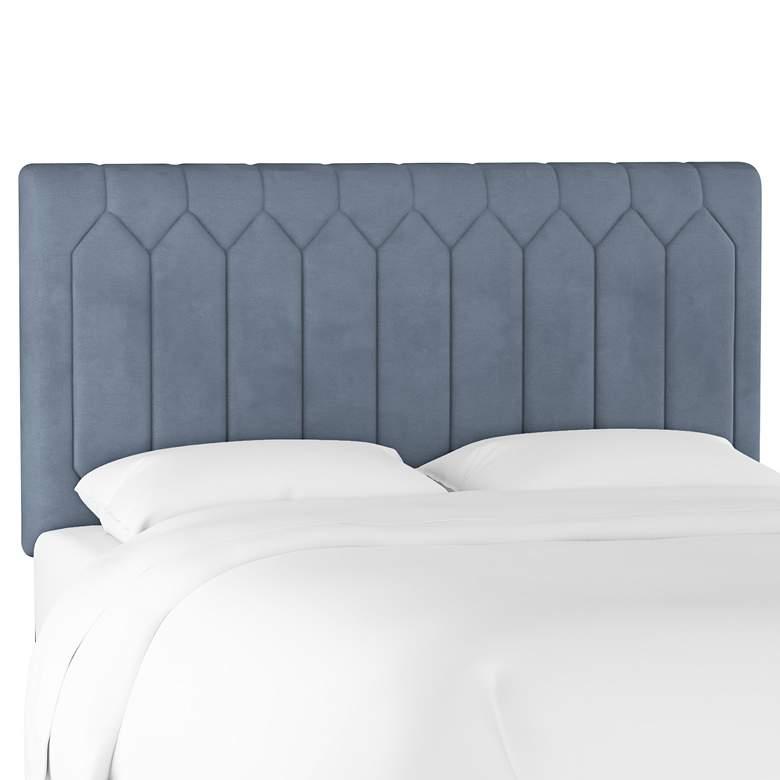Monterra Velvet Ocean Fabric Upholstered Full Headboard