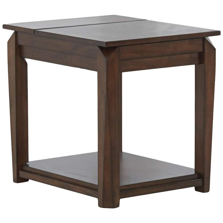 """Wedgeland 21""""W Brown Oak 1-Drawer End Table with Flip Top"""