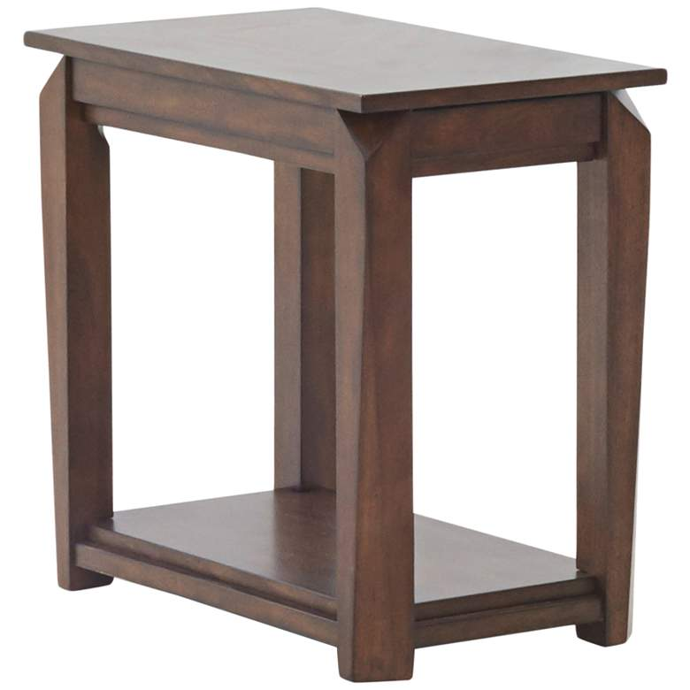 """Wedgeland 15"""" Wide Brown Oak End Table with Pull-Out Shelf"""