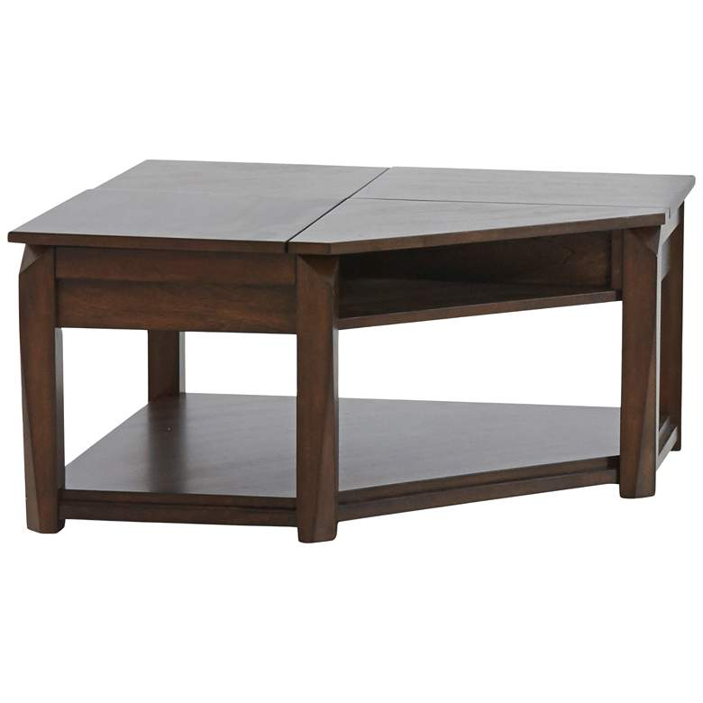 """Klaussner Wedgeland 35""""W Brown Oak Lift-Top Cocktail Table"""