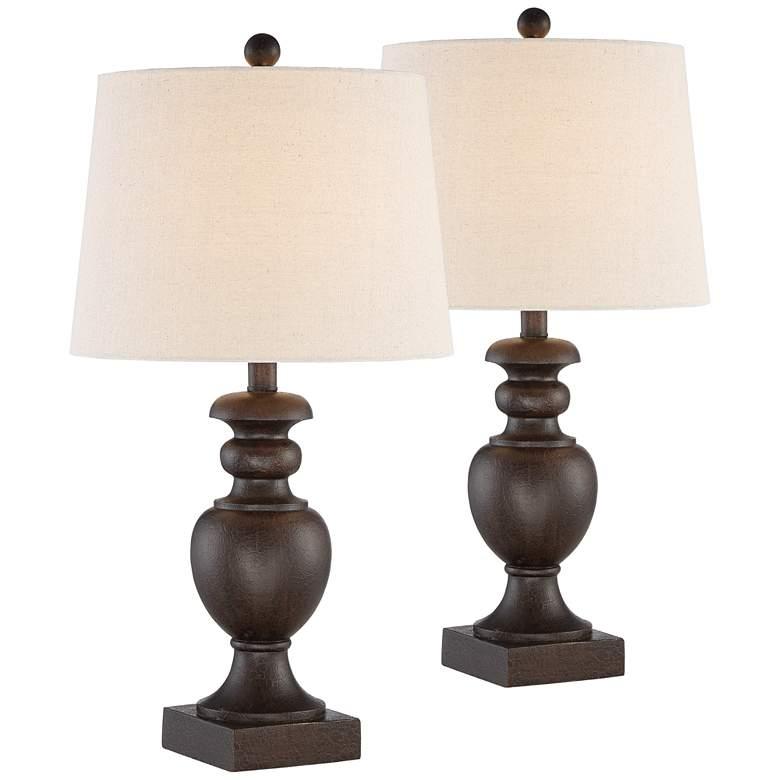 Abel Bronze Pedestal Table Lamps Set of 2