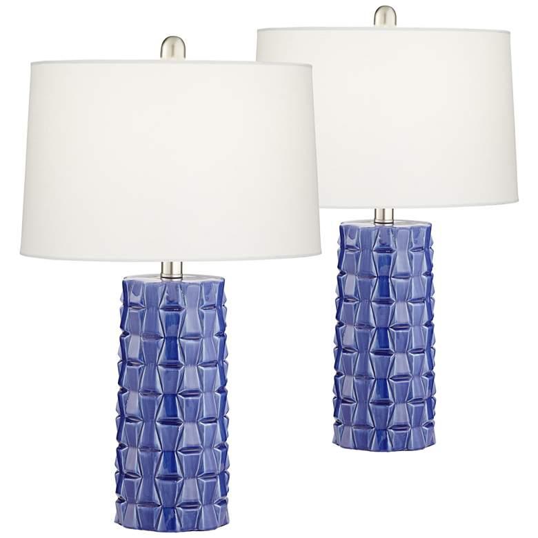 Rico Blue Ceramic Column Table Lamps Set of 2