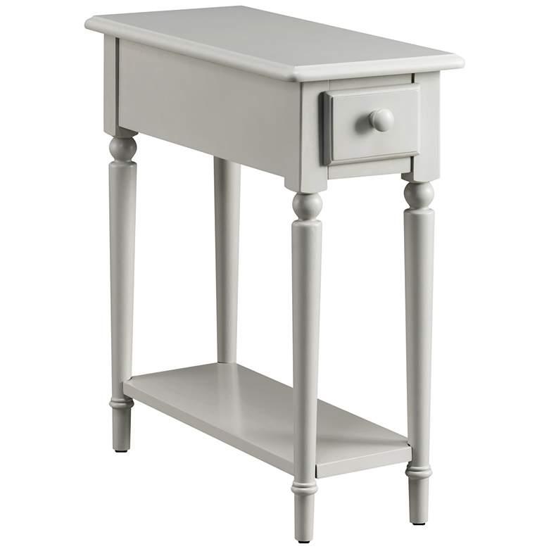 "Greige 10"" Wide Gray 1-Drawer 1-Shelf Narrow Chairside Table"