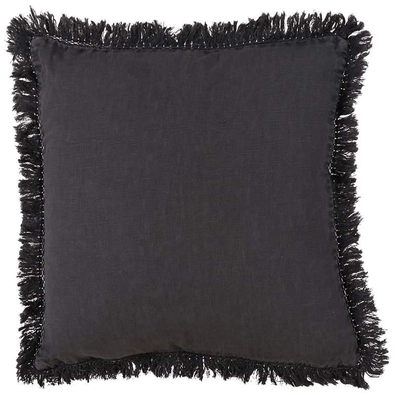 "Fringed Design Slate Stonewashed 20"" Square Throw Pillow"