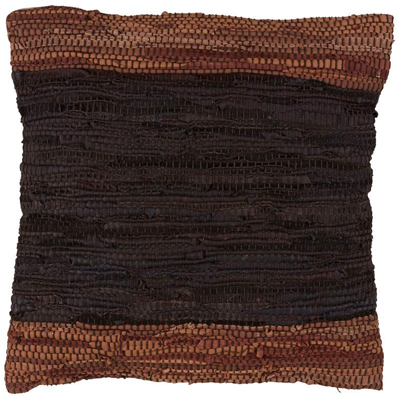 """Chindi Two-Tone Coffee Leather 18"""" Square Throw Pillow"""