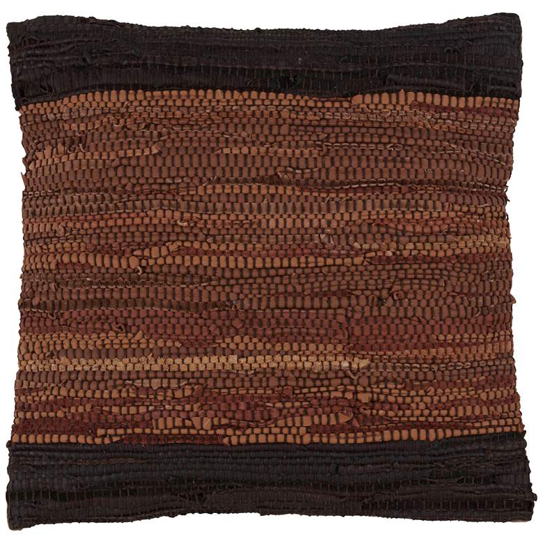 """Chindi Two-Tone Coffee Leather 18"""" Square Decorative Pillow"""