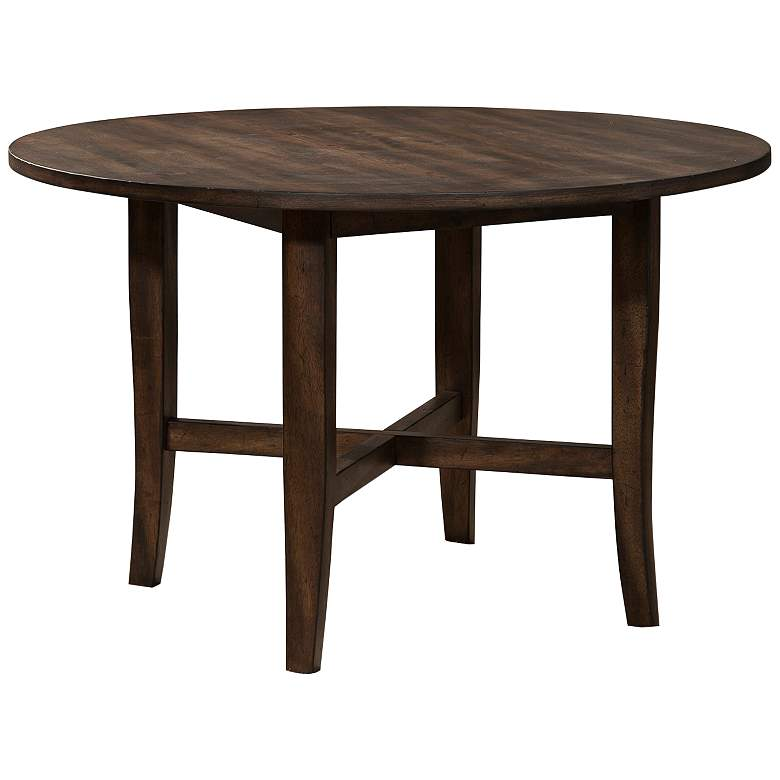 """Arendal 47"""" Wide Burnished Dark Oak Wood Round Dining Table"""