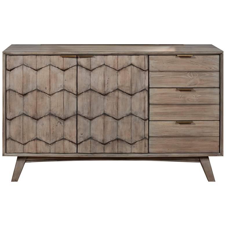 "Shimmer 56"" Wide Antique Gray 3-Drawer 2-Door Wood Dresser"