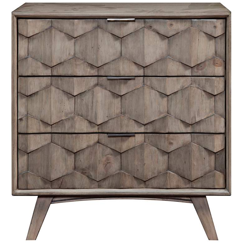 "Shimmer 32"" Wide Antique Gray 3-Drawer Wood Accent Chest"