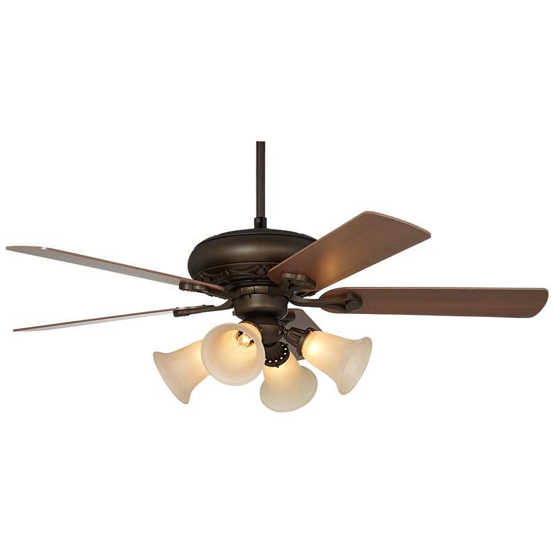 Casa Vieja Trilogy™ Bronze and Scavo Glass LED Ceiling Fan