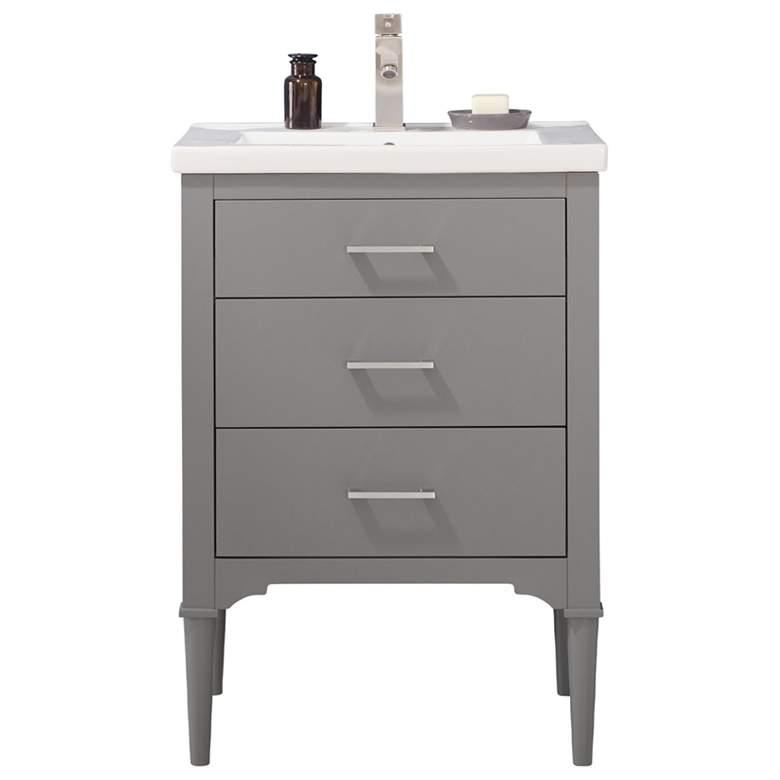 "Mason 24"" Wide 3-Drawer Porcelain Gray Single Sink Vanity"