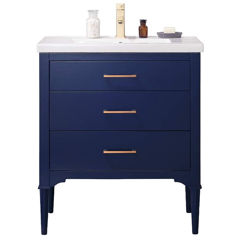 """Mason 30"""" Wide 3-Drawer Porcelain Blue Single Sink Vanity"""