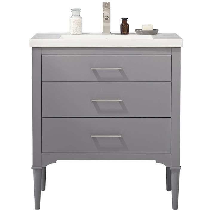 Mason 30 Wide 3 Drawer Porcelain Gray Single Sink Vanity 74r97 Lamps Plus