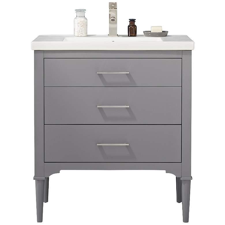 "Mason 30"" Wide 3-Drawer Porcelain Gray Single Sink Vanity"