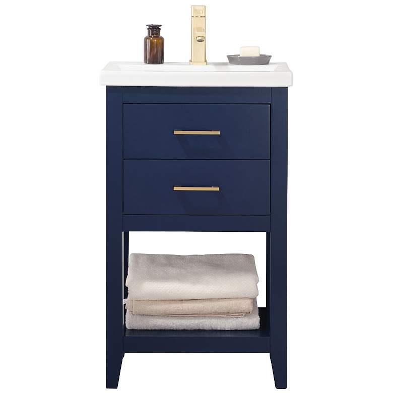 "Cara 20"" Wide 2-Drawer Porcelain Blue Single Sink Vanity"