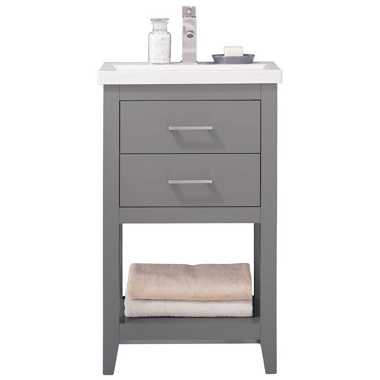 "Cara 20"" Wide 2-Drawer Porcelain Gray Single Sink Vanity"