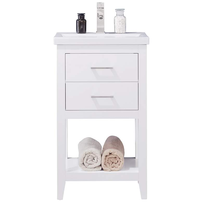 "Cara 20"" Wide 2-Drawer Porcelain White Single Sink Vanity"