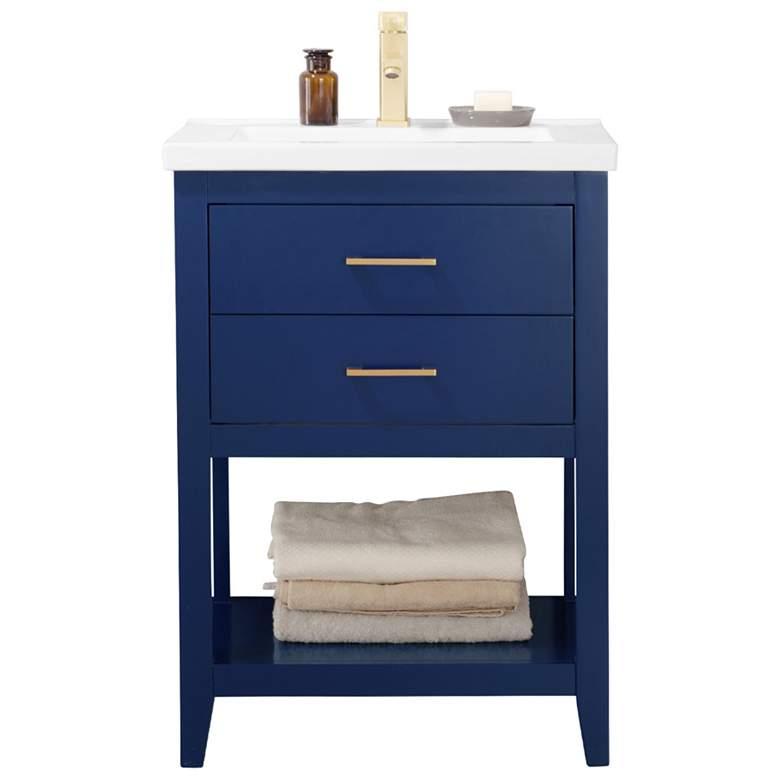"Cara 24"" Wide 2-Drawer Porcelain Blue Single Sink Vanity"