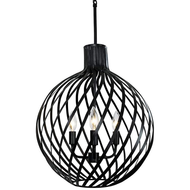 "Varaluz Bronwyn 16"" Wide Black 3-Light Orb Pendant Light"
