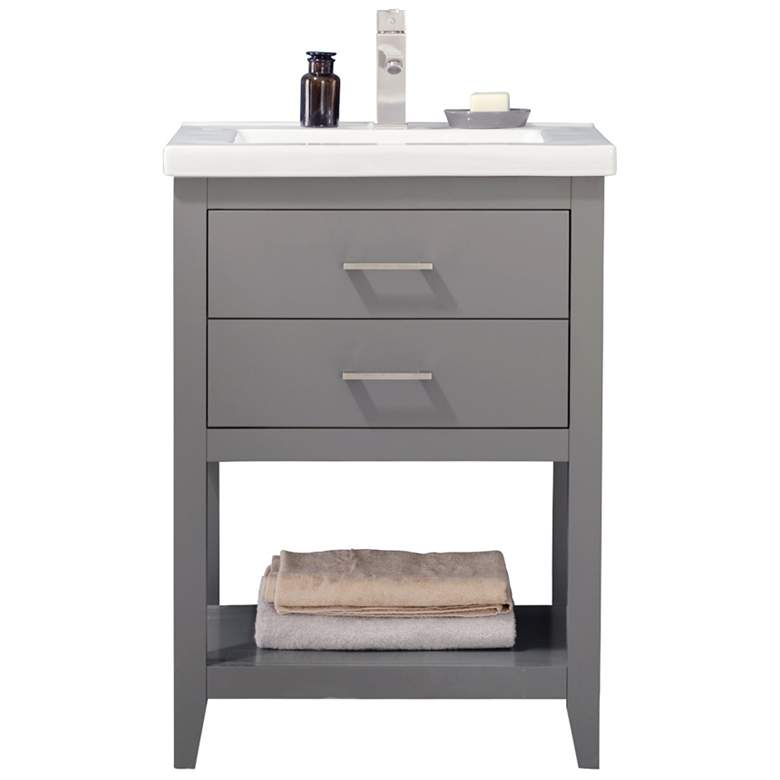 "Cara 24"" Wide 2-Drawer Porcelain Gray Single Sink Vanity"