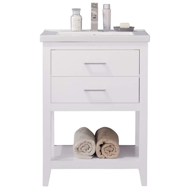 "Cara 24"" Wide 2-Drawer Porcelain White Single Sink Vanity"