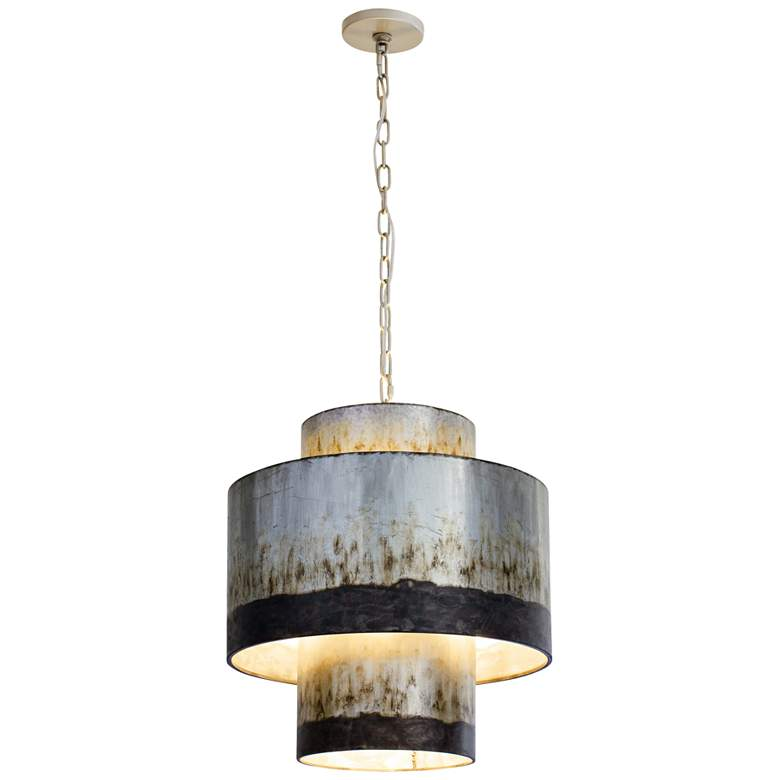 "Varaluz Cannery 18"" Wide Ombre Galvanized Pendant Light"