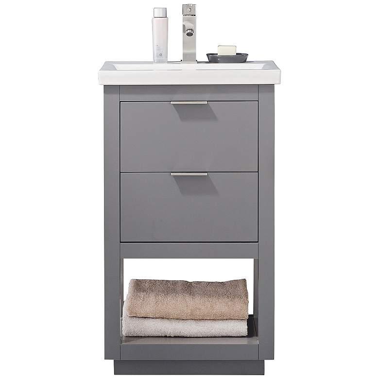 "Klein 20"" Wide 2-Drawer Porcelain Gray Single Sink"