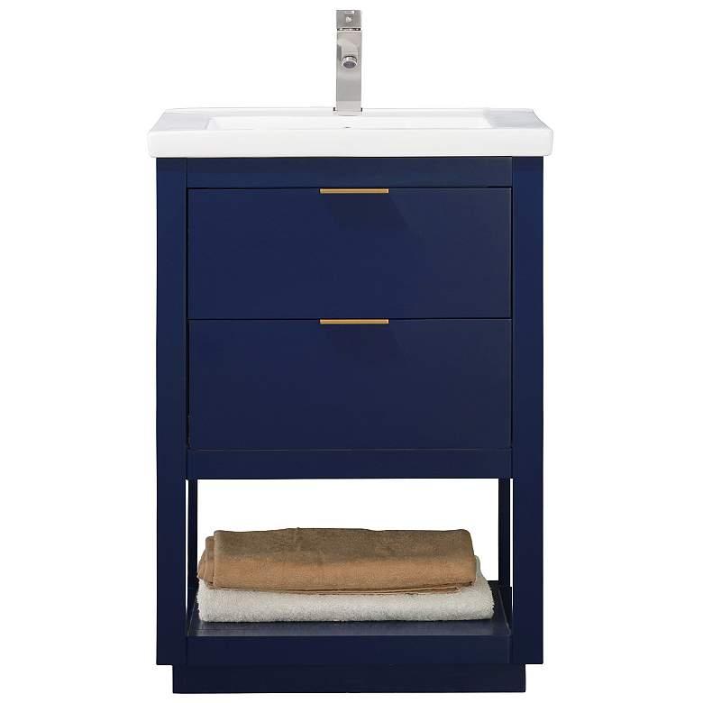 """Klein 24"""" Wide 2-Drawer Porcelain Blue Single Sink"""