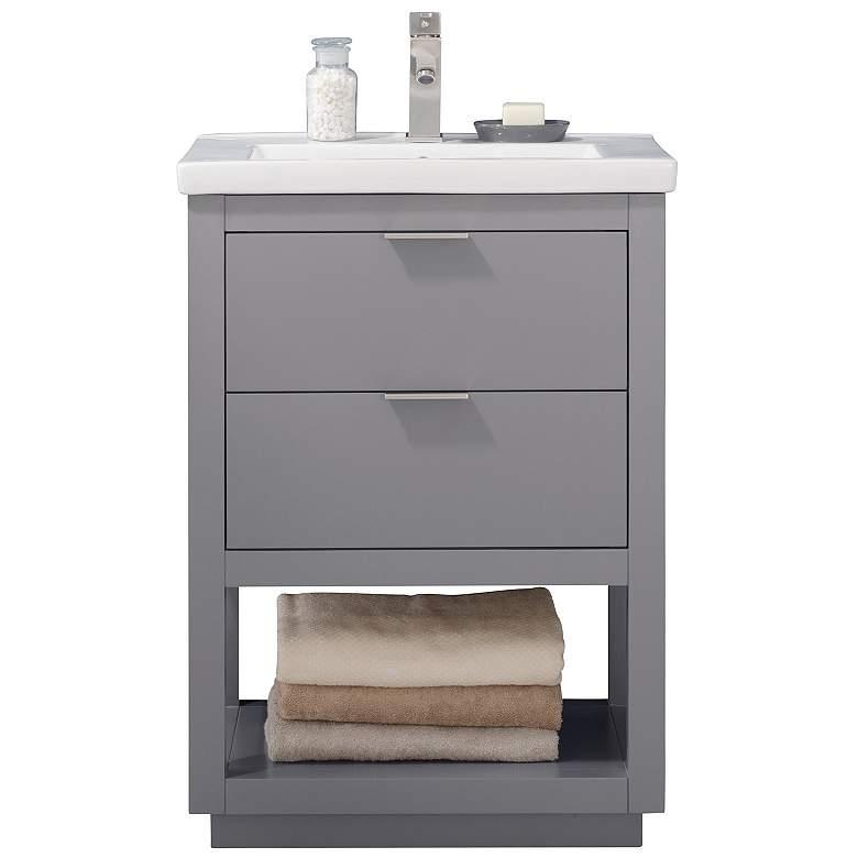 "Klein 24"" Wide 2-Drawer Porcelain Gray Single Sink Vanity"