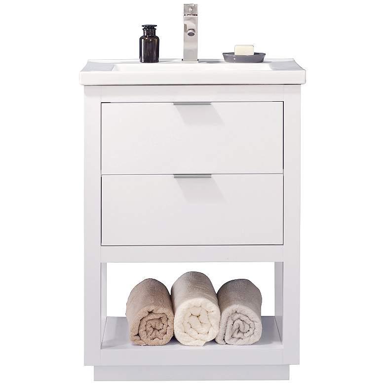 "Klein 24"" Wide 2-Drawer Porcelain White Single Sink Vanity"