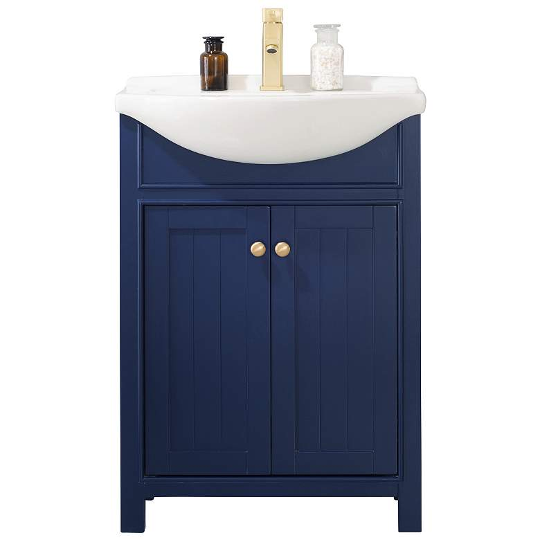 """Marian 24"""" Wide 2-Door Porcelain Blue Single Sink Vanity"""