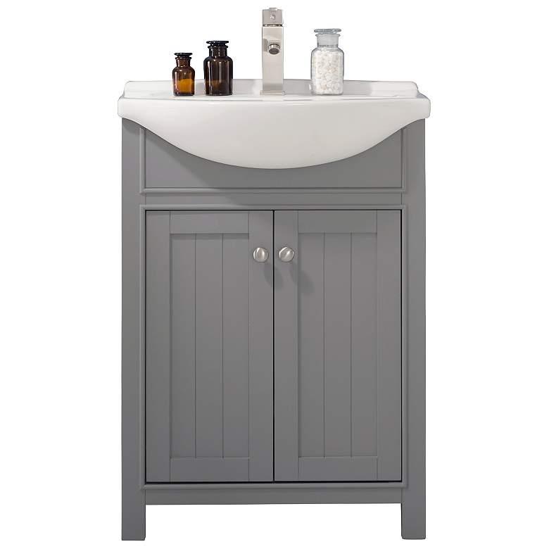 """Marian 24"""" Wide 2-Door Porcelain Gray Single Sink Vanity"""