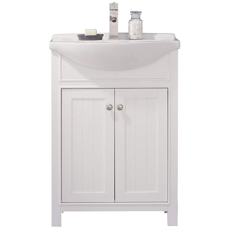 "Marian 24"" Wide 2-Door Porcelain White Single Sink Vanity"