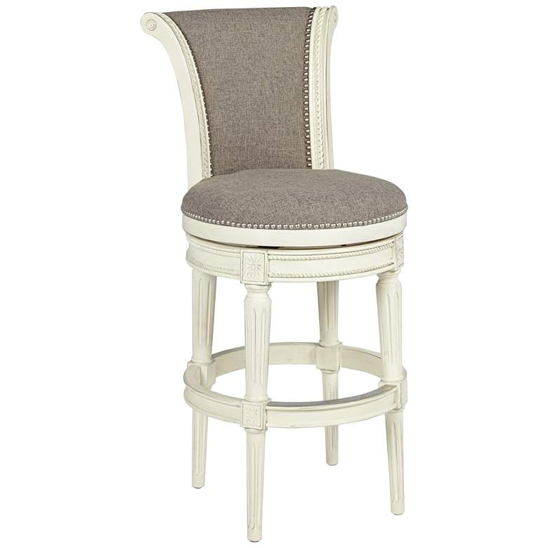 "Oliver 30"" Pewter Scroll Back Swivel Bar Stool"